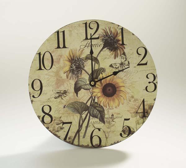 Kulaté hodiny na zeď Slunečnice květ