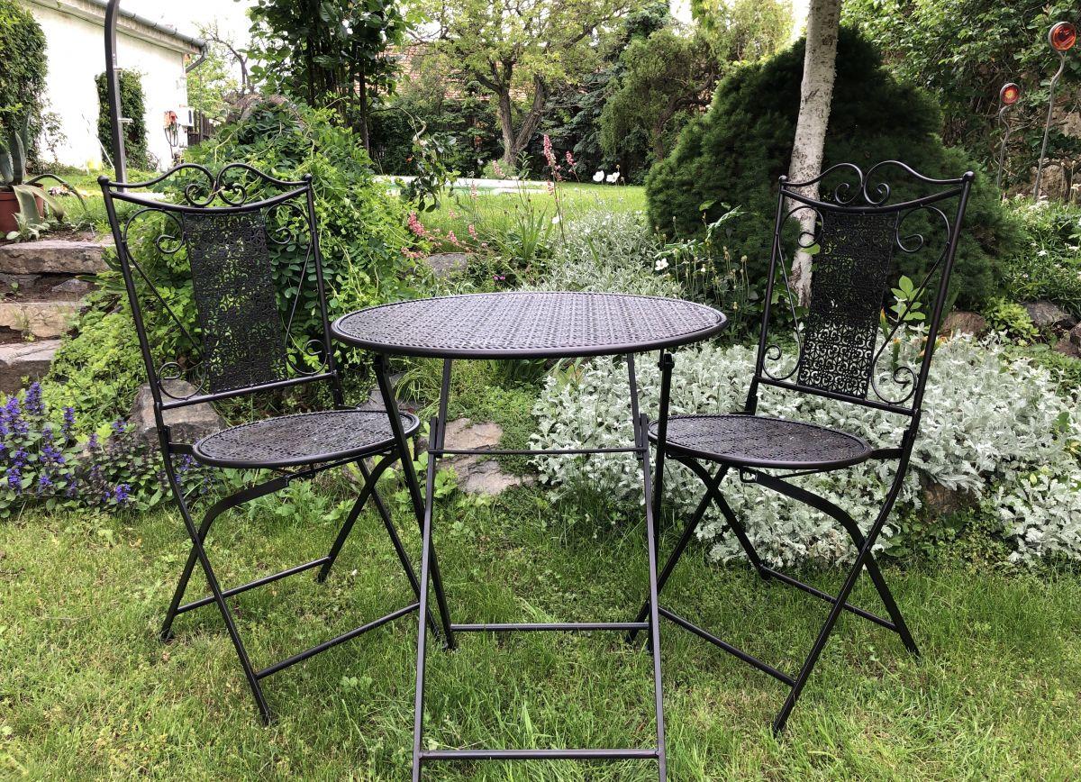 Kovový zahradní nábytek černý Karla