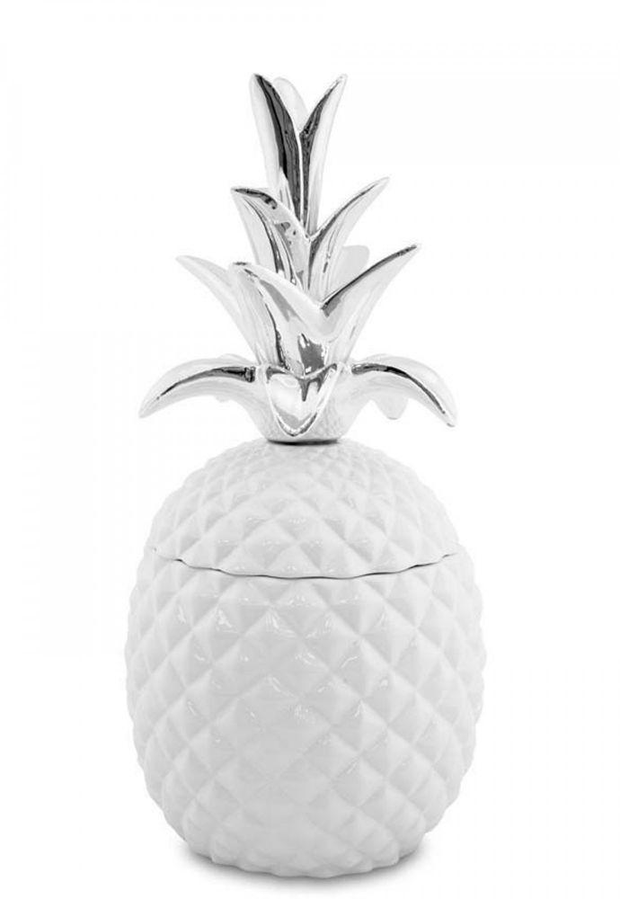 Keramická dóza Ananas stříbrné listy M
