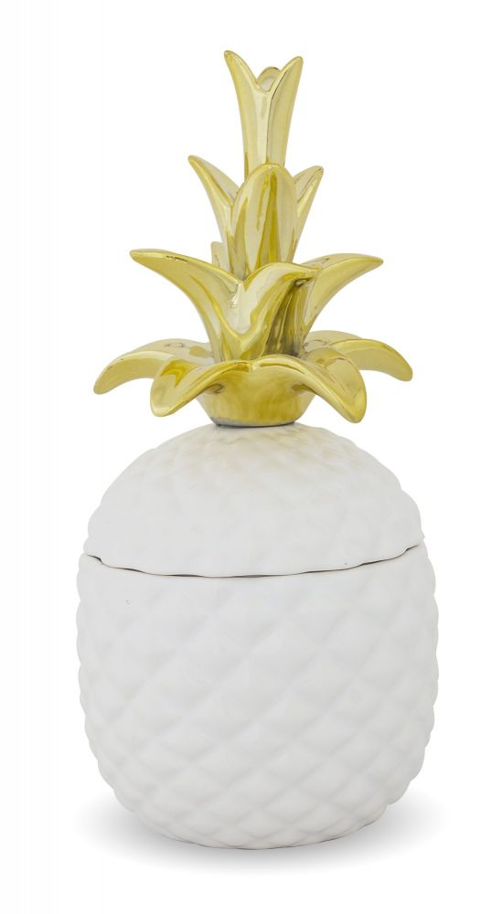 Keramická dóza Ananas zlaté listy M