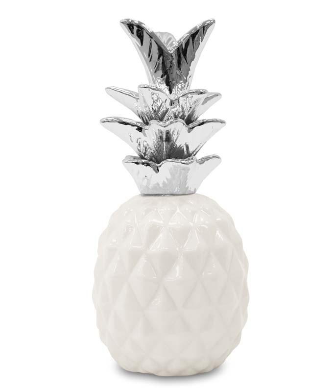 Keramický Ananas stříbrné listy S