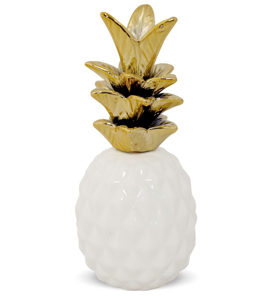 Keramický Ananas zlaté listy S