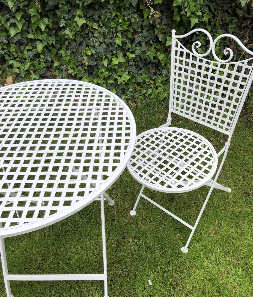 Kovový zahradní nábytek bílý Helena