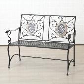 Kovová lavice - lavička s mozaikou Yvette