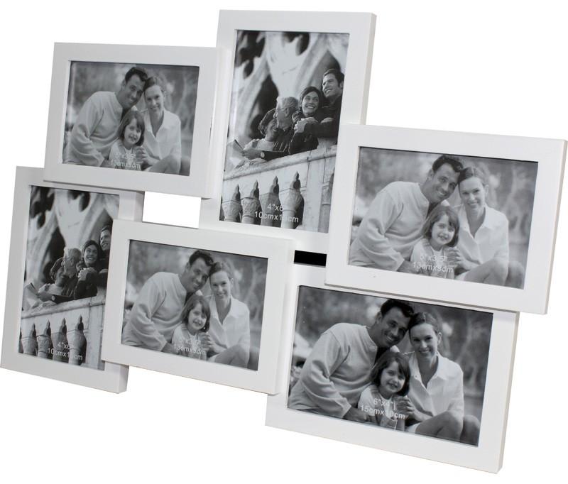 Dřevěný fotorámeček na 6 fotek bílý - poškozeno