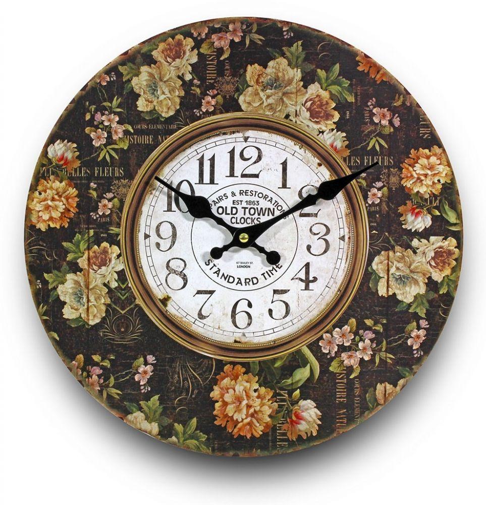 Dřevěné hodiny na zeď Old town Anglické růže