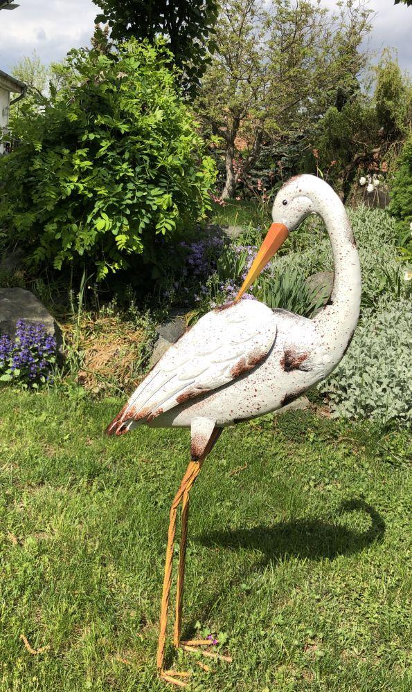 Luxusní kovový pták Čáp s otočenou hlavou