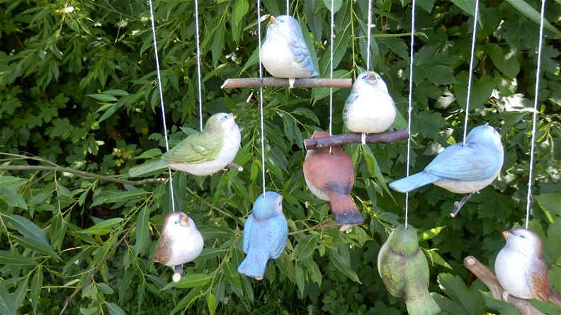 Dekorace na zahradu Ptáček keramický color sada 6ks