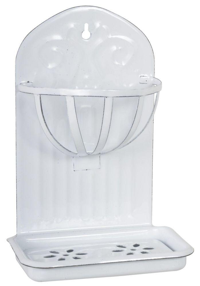 Smaltovaná mýdlenka s přihrádkou bílá