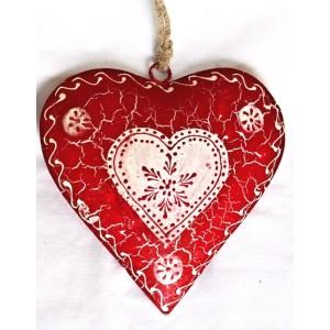 Kovové Srdce malované červené bílý střed
