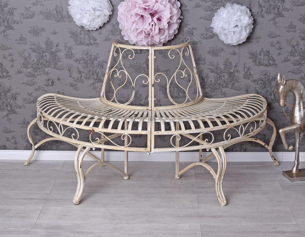 Kovová lavice - lavička Provence style kolem stromu krémová Paloma