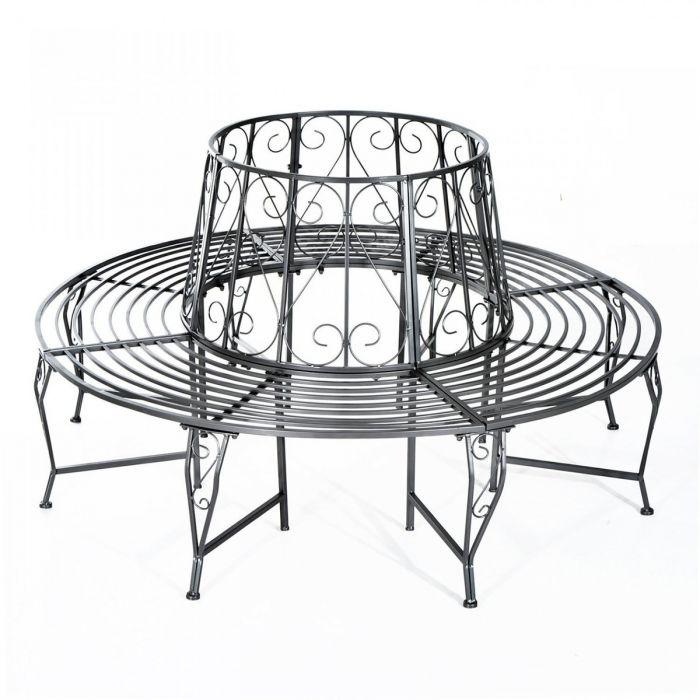 Kovová lavice - lavička Provence style kolem stromu stříbrná Marineta