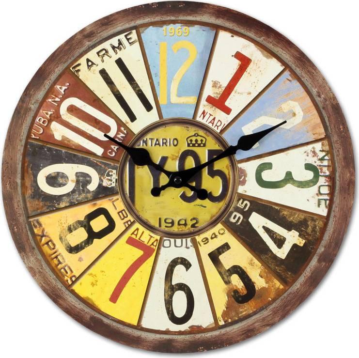 Dřevěné hodiny na zeď Čísla color