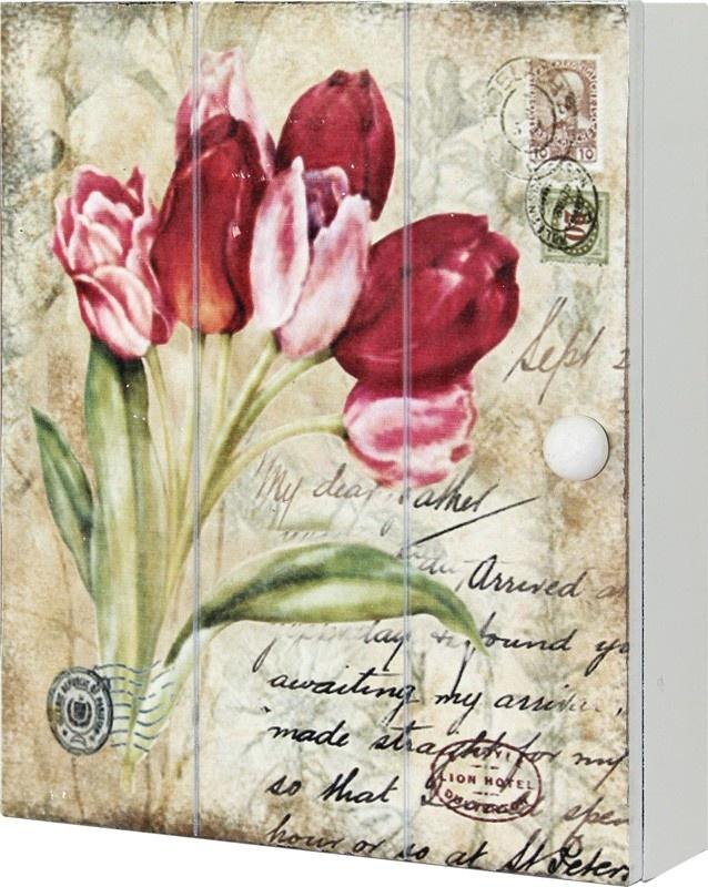Dřevěná skříňka na klíče Tulipány