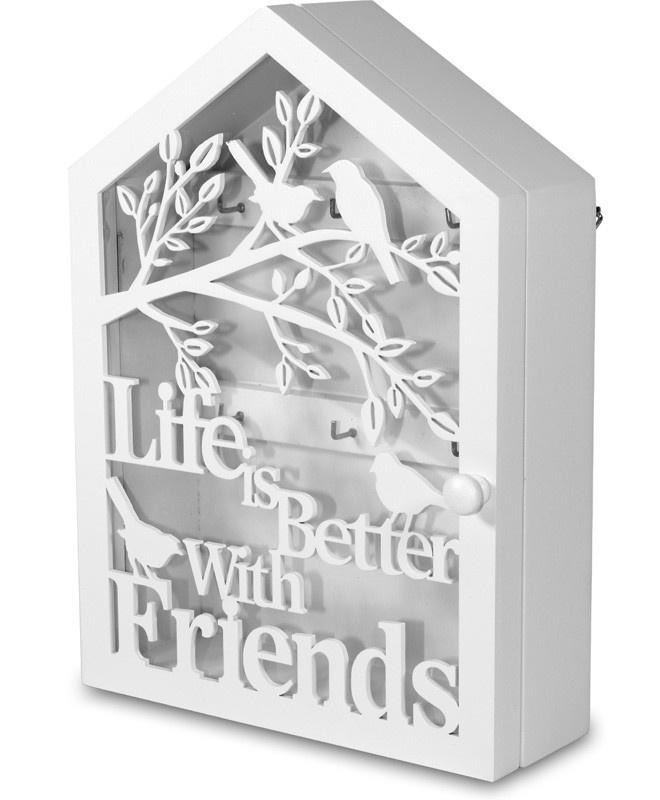 Dřevěná skříňka na klíče Life is better with friends
