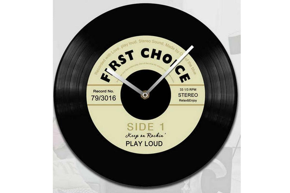 Skleněné hodiny na zeď Gramofonová deska First choice