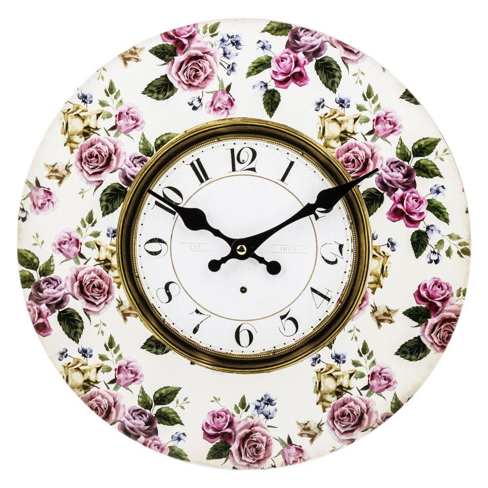 Dřevěné hodiny na zeď Růžové růže