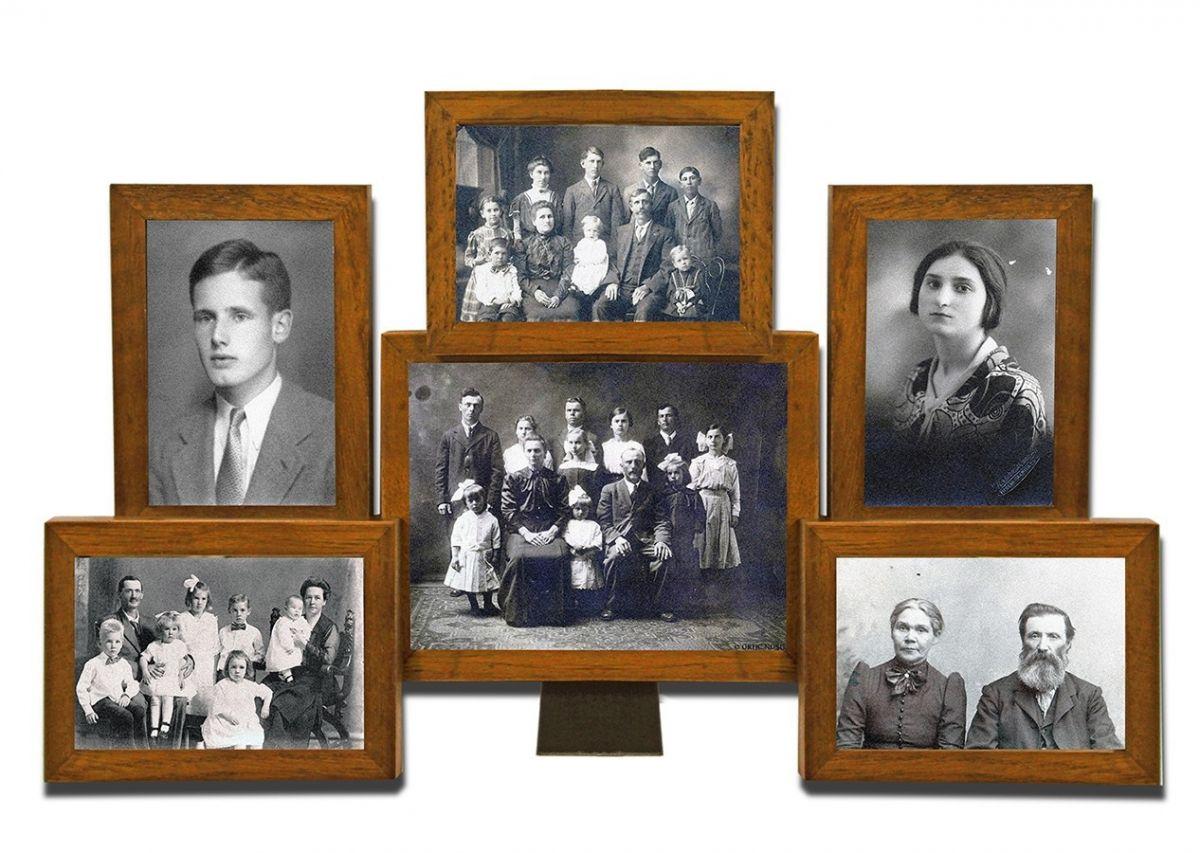 Dřevěný fotorámeček na 6 fotek hnědý New