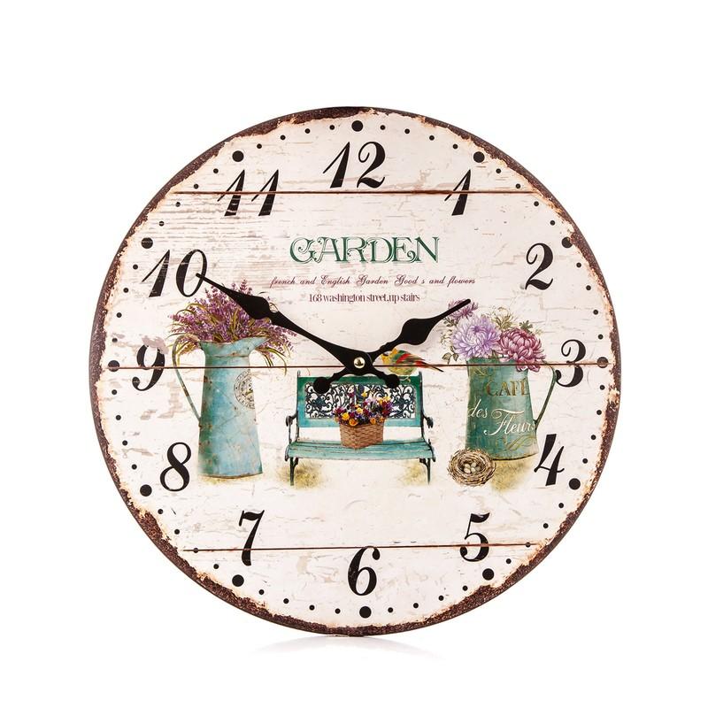 Dřevěné hodiny na zeď Garden - levandule