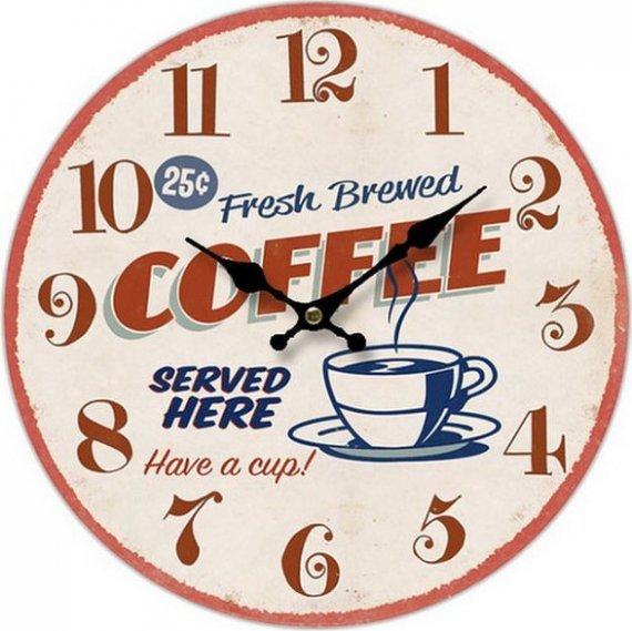 Dřevěné hodiny na zeď - nástěnné Coffee Served here