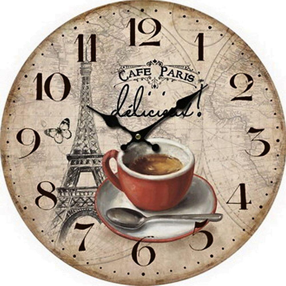 Dřevěné hodiny na zeď - nástěnné Cafe