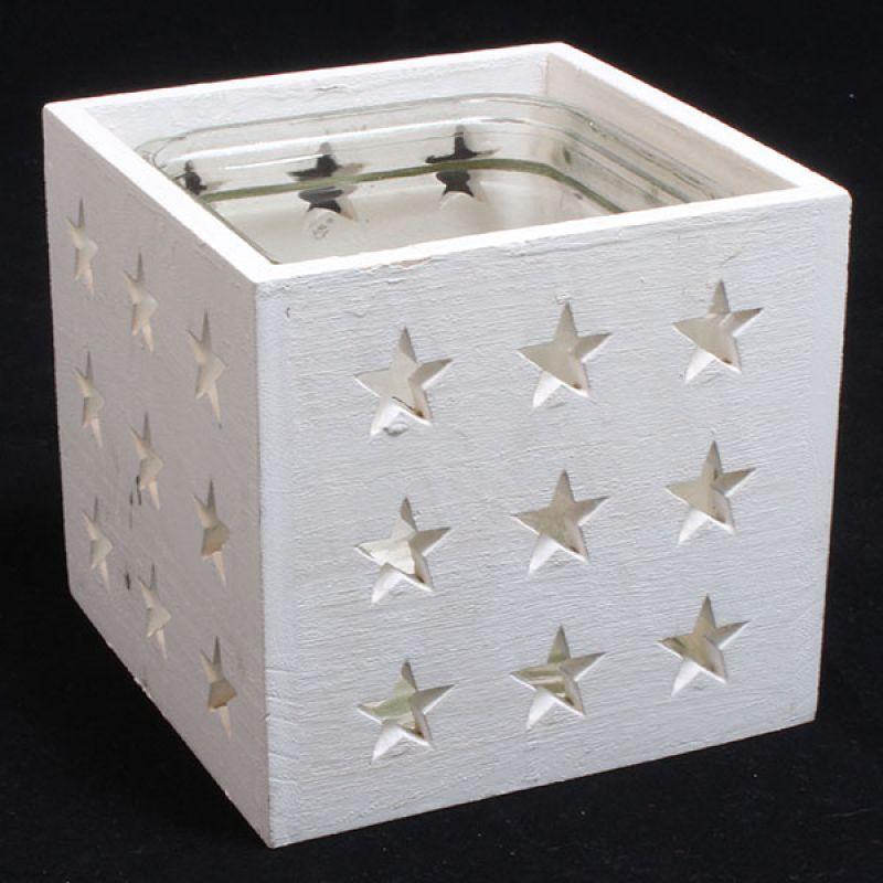Dřevěný svícen Hvězdičky bílý