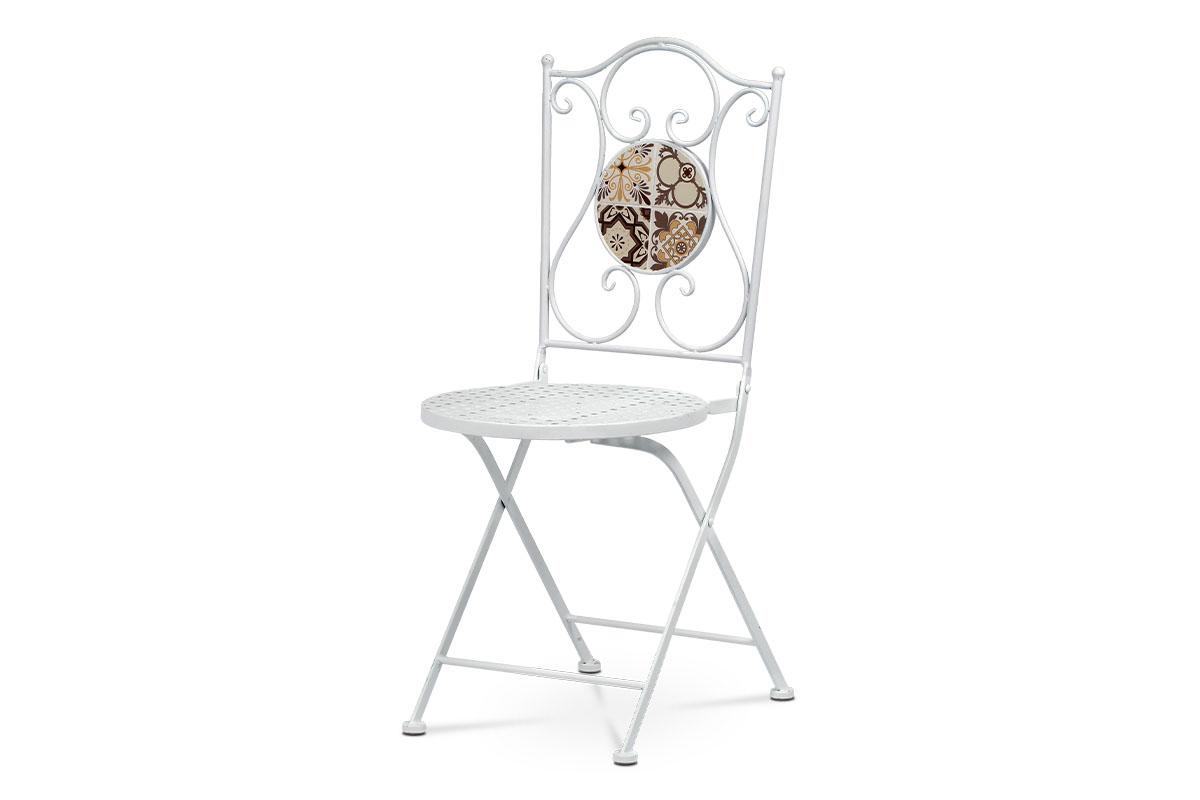 Kovová zahradní židle bílá Lístky