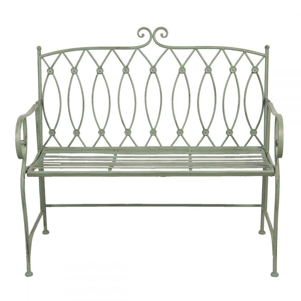 Kovová lavice -lavička Provence Lolita zelená
