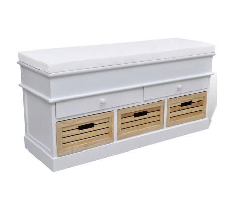 Dřevěná lavice s polstrováním 5 šuflíků