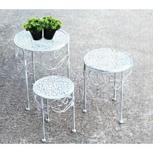 Kovové květinové stolky bílé Lulu
