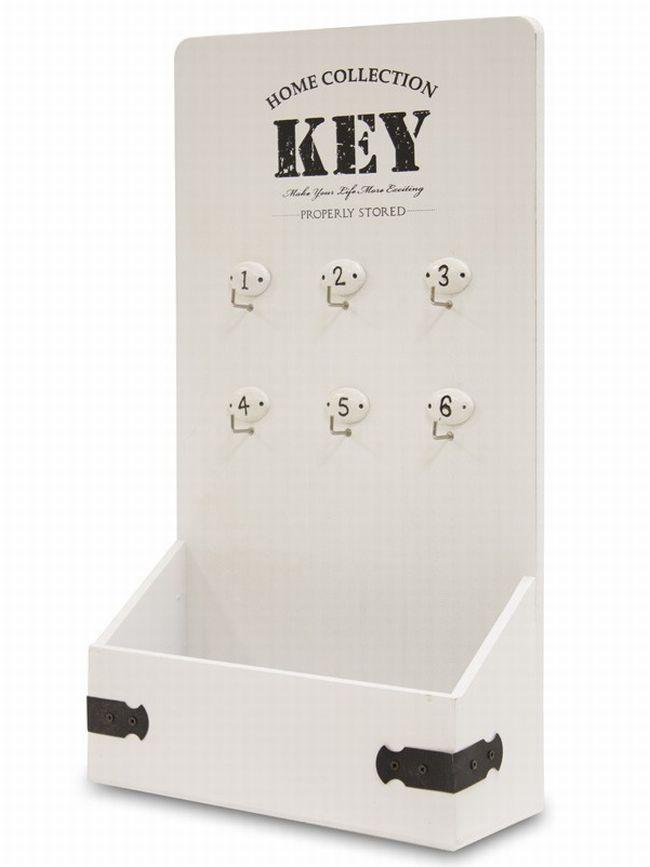 Dřevěný věšák na klíče - Key s přihrádkou