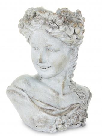 Váza z mramorové drti Hlava žena květiny