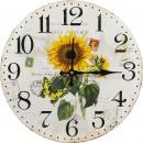 Kulaté hodiny na zeď Slunečnice Carte postale